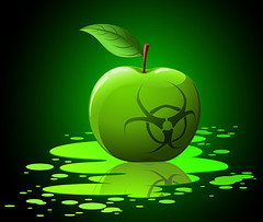 Green toxic apple with biohazard sing (markevans14) Tags: alert apple art autumn background bacterial beautiful bio biohazard biological black bright chemical color danger death drops eating food fruit graphic green hazardous healthy icon illustration image infected infectious juicy large leaf nature object plash poison reflection shadow shiny sign single symbol threats toxic vector virus vitamin warfare warning white