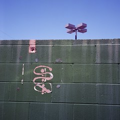 Inauguration Day (ADMurr) Tags: la labrea green wall blue sky lamp sign cinder blocks rolleiflex kodak ektar zeiss