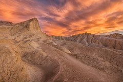 Sunset Over Golden Canyon (Kirk Lougheed) Tags: california deathvalley deathvalleynationalpark goldencanyon manly manlybeacon usa unitedstates badlands beacon landscape nationalpark outdoor sunset