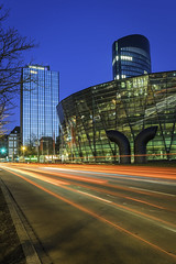 Blue city (Job I) Tags: city glass steel mirror windows urban traffic car trails street dortmund dusk twilight long exposure bright light ruhrgebiet germany europe future