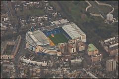 Stamford Bridge Football Stadium (elevationair ✈) Tags: london lhr egll england unitedkingdon uk aerialview europe chelsea chelseafootballclub stamfordbridge thebridge cfc stack holdingstack bovingdon bovingdonhold approachtoheathrowairport londonfromaplanewindow