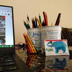 Blue elephant with pencils (ashabot) Tags: pattaya thailand thai desk blue blueelephant elephant drawing comicart