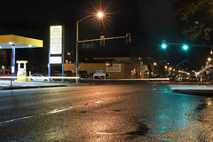 Main Street (Curtis Gregory Perry) Tags: vancouver washington main street night long exposure light stoplight signal wet reflection gas stateion astro streetlight nikon d810 road avenue 22nd peking garden