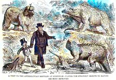 John Leech - A Visit to the Antediluvian Reptiles at Sydenham; Master Tom Strongly Objects to Having his Mind Improved (1855) custom colorized version (ketrin1407) Tags: cartoon punch 19thcentury victorian humour humor satire punchorthelondoncharivari johnleech father son dinosaur statue sydenham crystalpalace london colorized colorization