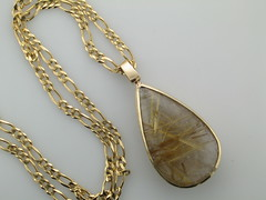 Rutilated quartz teardrop in 14kt yg 12.23.14
