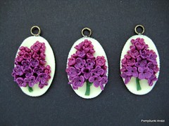 Lilacs (Polymeranna) Tags: sculpture art artwork funny handmade crafts poland polska jewelry hobby polymerclay lilac pendant creations modelina homedecore