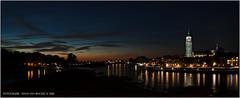 Als de zon onder is... (Hans van Bockel) Tags: city longexposure panorama photoshop river 50mm nikon raw nef nacht pano tripod front explore d200 avond stad deventer ijssel vanguard rivier spoorbrug statief hansvanbockel
