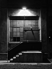 Enter Here... (tim.perdue) Tags: street door city light columbus ohio urban bw white black west brick window monochrome wall night stairs contrast dark downtown decay rich warehouse 400 franklinton