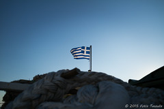 World is blue (ftasoulis) Tags: blue sky travelling greek flag samsung rope greece nx300
