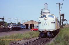 NJT 4333-4285-CR 4022, South Amboy, NJ. 6-28-1980 (jackdk) Tags: railroad train railway locomotive cr e9 e8 njt conrail newjerseytransit emd southamboy e9a njdot e8a emde9 engineterminal southamboynj emde8