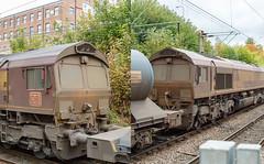 66184 66188 RHTT Macc 17102015 (TheSilkmoth) Tags: shed db dbs class66 ews rhtt railheadtreatmenttrain 66184 macclesfieldstation englishwelshscottish dbschenker 66188 railheadtreatment dbsrhtt