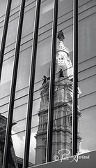 Modern Reflection of History (Pam Garland) Tags: old travel windows blackandwhite reflection philadelphia monument modern vintage cityhall historical contradiction