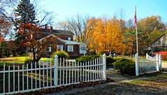 Happy Fence Friday (bjebie) Tags: november autumn trees ohio sky house home nature beauty barn fence flag americanflag autumnleaves whitepicketfence whitefence 2015 centuryhouse ravennaohio twostoryhouse portagecountyohio fencefriday happyfencefriday