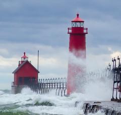 November Gale (rellet17) Tags: november lighthouse storm fall waves power wind crash michigan gale lakemichigan boardwalk grandhaven