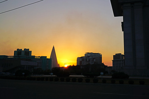 Sunset over Pyongyang, North Korea