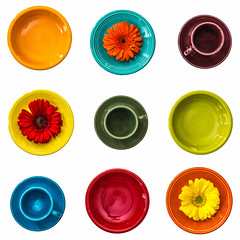 Fiesta! (Lisa Bell Jamison) Tags: fiestaware dishes fiesta colors bright daisy orange red blue aqua flower green yellow lime olive maroon