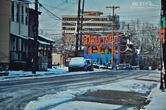 Deutschtown Snow (Hi-Fi Fotos) Tags: winter snow ice cold city street urban pittsburgh northside deutschtown mural nikon d5000 hififotos hallewell