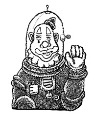 Space Clown (Don Moyer) Tags: spaceman clown ink drawing brushpen sketchbook moyer donmoyer