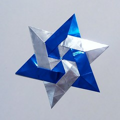 Star of David (o0o0oecho0o0o) Tags: starofdavid origami foil paper craft star 6pointstar jewishstar modularorigami metallic blue silver holiday hanukkah