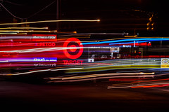 "Day 20/365 2017 Edition- ""Missing the Target"" (Angela D Beck) Tags: downtown kernersville nc nighttime lights light trails target signs traffic blur movement motion storefront stores shops business line lines"