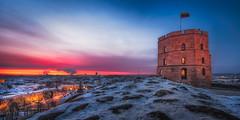 Vilnius Castle (NicoTrinkhaus) Tags: vilnius lithuania baltic panorama castle tower sundawn sky view