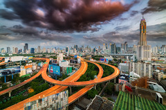 Bangkok Express (peter stewart photography) Tags: bangkok thailand asia city cityscape high angle day night sky clouds copy space skyscraper expressway highway roads wide