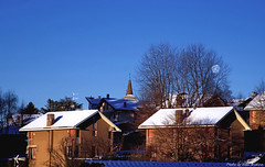 hidden moon (anbri22) Tags: anbri hiddenmoon frostymorning snow roofs clear blue galliatelombardo varese