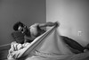 (John Donges) Tags: people person portrait man male model nude naked skin blackandwhite body bed sheet motion 6454