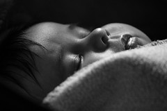 Sleeping baby (gornabanja) Tags: baby infant daughter girl small tiny little asleep sleeping blackwhite blackandwhite peaceful quiet pretty cute beautiful nikon d70