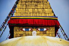 Yeux de Bouddha, symbole du Népal (Voyages Lambert) Tags: travel tourism number3 wisdom zenlike tibetanculture goldcolored monkeytemple praying buddha buddhism asianethnicity religion spirituality ancient old cultures famousplace architecture humaneye tibet swayambhunath bodnathstupa kathmandu asia monkey himalayas dome monastery templebuilding pagoda stupa oldruin flag symbol nepaleseculture nirvana