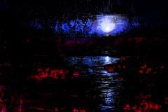 moonlit bridge over firewater (Chuck Craver) Tags: abstract water reflection sun moon bridge fire firewater seascape texture ocean multipleexposure impressionism expressionism abstractexpressionism chuckcraver memoriesbook