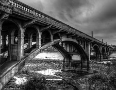 It Ends Eventually (that_damn_duck) Tags: blackandwhite monochrome architecture bridge arches landscape clouds water bw blackwhite