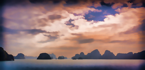 blue colours dreamy halongbay holidays karst mangojouneys seascapes serenity topazlabs vietnam