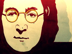 Lennon in Yellow Glasses (carolinecohenour) Tags: california ca red musician music usa white face yellow rock wall america painting glasses la losangeles los paint peace unitedstates parkinggarage angeles political calif imagine beatles johnlennon sixties rockandroll sunsetblvd thebeatles assassinated photophilosophy