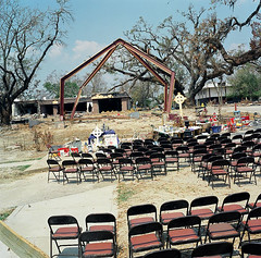 lost congregation, biloxi mississippi (zev tiefenbach) Tags: colour film church mediumformat mississippi square katrina photographer cross chairs hurricane hasselblad ghosts biloxi congregation zev absence devestation socialrealism tiefenbach zevtiefenbach chroniclesofzev