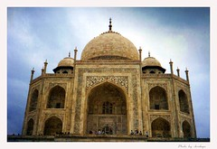 The Touching Taj Mahal (Araleya) Tags: travel india art history love monument colors architecture interestingness asia blues tajmahal agra buidling southasia worldwonder araleya 10faves interestingness471 saarc bluelist  greatplace angkorsingle