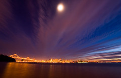 _DSC2116. (ec808x) Tags: sanfrancisco city longexposure nightphotography sunset moon motion skyline night clouds d50 nikon cityscape treasureisland baybridge moonlight sanfranciscobay tamron1118mm