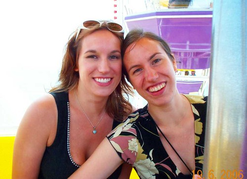 Maya and me on the Ferris wheel, a long way above Santa Monica Beach.