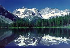 Marvel Lake reflections (xtremepeaks) Tags: park canada mountains reflection water hiking alberta banff explore25nov05 i500 interestingness144
