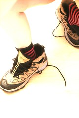 Living In Someone Else's Shoes (- Kemaha -) Tags: playing tag3 fun tag2 tag1 legs kiss2 stripeysocks toolarge kiss3 kiss1 kiss4 kiss5 richardsboots utatahassole