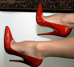 Red Patent Stiletto Pumps (shielaannkeller) Tags: red shoe high shoes pumps highheels heels hi heel stiletto stilettos redheels highheelsformen meninheels