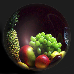Fruit & Glass 5 (nomm de photo) Tags: stilllife fruit photoshopped sphere variations digitallyaltered reinnomm