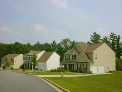 row of homes (BoringPostcards) Tags: atlanta house home yard georgia exterior neighborhood developer suburb sprawl mcmansion subdivision fairburn