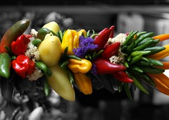 Sideways  - Redoux (Creativity+ Timothy K Hamilton) Tags: seattle street red orange color vegetables pepper place market peppers brightcolors veggies pike redpepper pikestreet greenpeppers redpeppers