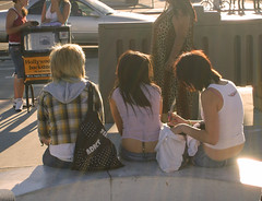 Hooray for the Sausage Girls (Fire Monkey Fish) Tags: california girls silly girl tattoo bulge afternoonsunlight tarzana muffintops ittybittypants sausagegirls
