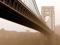 near to far (nj dodge) Tags: nyc bridge mist topf25 sepia listeningto nj bridges gwb fortlee georgewashingtonbridge dashboardconfessional underthebridge frownedupon parkpolice takethetime isverymuch mtvunplugged tosayhello andremindme takingphotoswithatripod