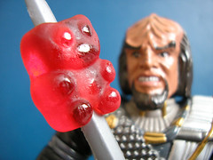 Gummi On A Stick (DarthLen) Tags: bear red trek star blood wine klingon worf gummi tng toyshots
