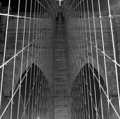 brooklyn bridge (seth_holladay) Tags: nyc newyorkcity blackandwhite bw lines brooklyn geotagged manhattan bridges july 2006 brooklynbridge eastriver gothamist geotoolgmif geolat40707494 geolon73998469