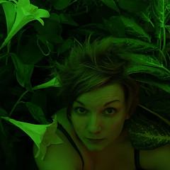 weed (helveticaneue) Tags: laura me warning lily experiment august 2006 fuschia lesson hulk softbox houseplants anothergreenworld kicey laurakicey flashsoftbox coloredgel ifyouwanttohighlighteverypimplebrokenveinbloodshoteyeusegreen weirdshoulderaction greenisnotportraitfriendly
