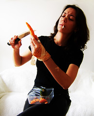 the domestic life of a killer (emanuela franchini) Tags: selfportrait me vegetables self knife killer carrot cutting chopping conceptual scars courgette sincity fruitveg slicing plasters photophilosophy allrightsreserved akillerslife emanuelafranchini emanuelafranchiniphotography